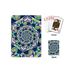 Power Spiral Polygon Blue Green White Playing Cards (mini)  by EDDArt