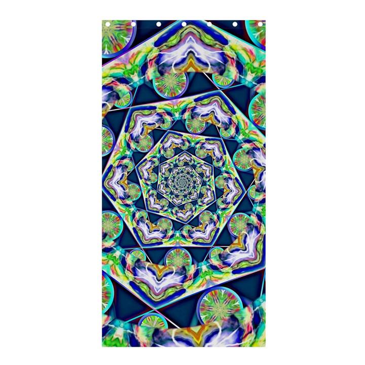Power Spiral Polygon Blue Green White Shower Curtain 36  x 72  (Stall)