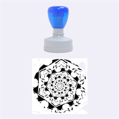 Power Spiral Polygon Blue Green White Rubber Round Stamps (medium) by EDDArt