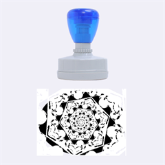 Power Spiral Polygon Blue Green White Rubber Oval Stamps by EDDArt