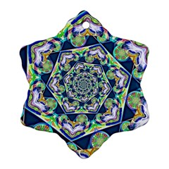 Power Spiral Polygon Blue Green White Snowflake Ornament (2 Side)