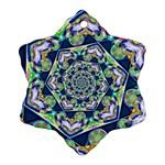 Power Spiral Polygon Blue Green White Snowflake Ornament (2-Side) Back