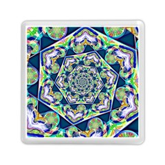 Power Spiral Polygon Blue Green White Memory Card Reader (square)  by EDDArt