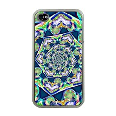 Power Spiral Polygon Blue Green White Apple Iphone 4 Case (clear) by EDDArt