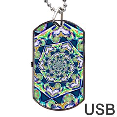 Power Spiral Polygon Blue Green White Dog Tag Usb Flash (two Sides)  by EDDArt