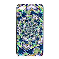 Power Spiral Polygon Blue Green White Apple Iphone 4/4s Seamless Case (black) by EDDArt