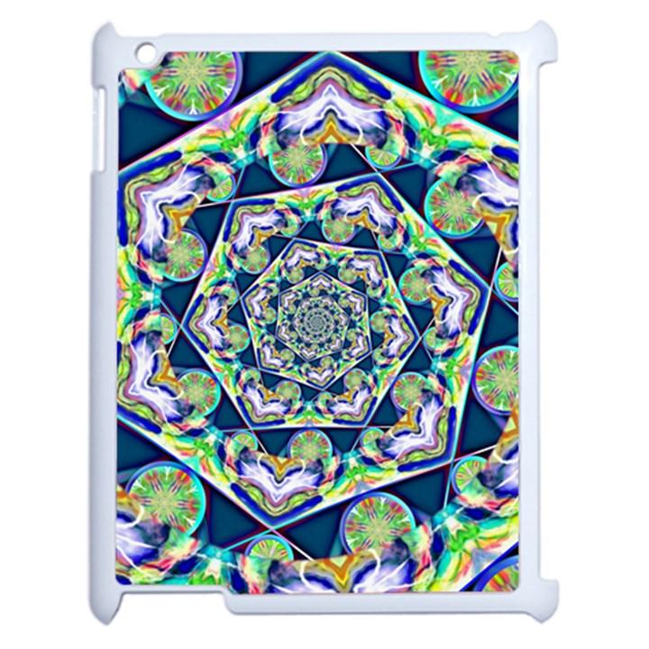 Power Spiral Polygon Blue Green White Apple iPad 2 Case (White)