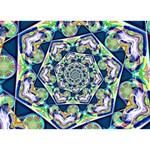 Power Spiral Polygon Blue Green White LOVE 3D Greeting Card (7x5) Back