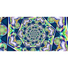 Power Spiral Polygon Blue Green White You Are Invited 3d Greeting Card (8x4) by EDDArt