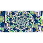 Power Spiral Polygon Blue Green White BELIEVE 3D Greeting Card (8x4) Back