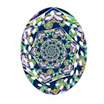 Power Spiral Polygon Blue Green White Ornament (Oval Filigree)  Front