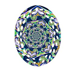 Power Spiral Polygon Blue Green White Oval Filigree Ornament (2 Side)
