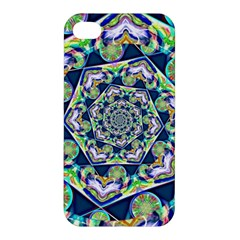 Power Spiral Polygon Blue Green White Apple Iphone 4/4s Hardshell Case by EDDArt
