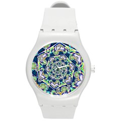 Power Spiral Polygon Blue Green White Round Plastic Sport Watch (m) by EDDArt