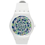Power Spiral Polygon Blue Green White Round Plastic Sport Watch (M) Front