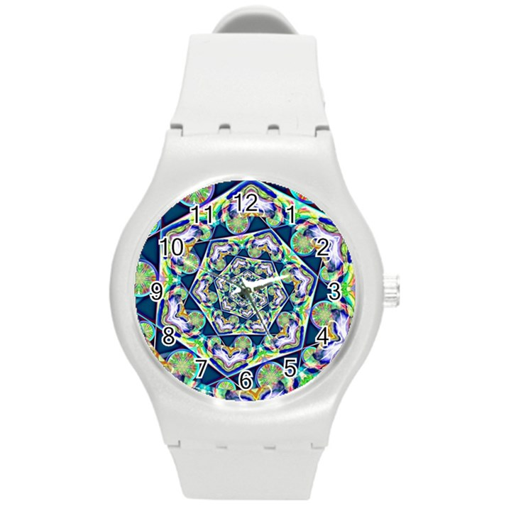 Power Spiral Polygon Blue Green White Round Plastic Sport Watch (M)