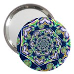 Power Spiral Polygon Blue Green White 3  Handbag Mirrors Front