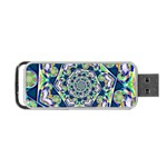 Power Spiral Polygon Blue Green White Portable USB Flash (One Side) Front