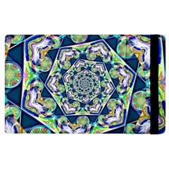 Power Spiral Polygon Blue Green White Apple Ipad 2 Flip Case by EDDArt