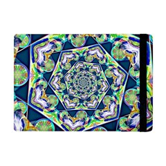 Power Spiral Polygon Blue Green White Apple Ipad Mini Flip Case by EDDArt