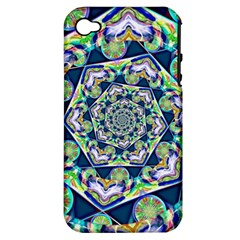 Power Spiral Polygon Blue Green White Apple Iphone 4/4s Hardshell Case (pc+silicone) by EDDArt