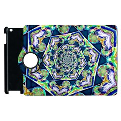 Power Spiral Polygon Blue Green White Apple Ipad 2 Flip 360 Case by EDDArt