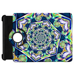 Power Spiral Polygon Blue Green White Kindle Fire Hd Flip 360 Case by EDDArt