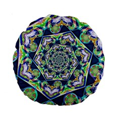 Power Spiral Polygon Blue Green White Standard 15  Premium Round Cushions by EDDArt