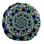 Power Spiral Polygon Blue Green White Large 18  Premium Round Cushions Back