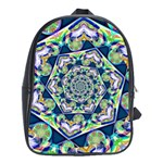 Power Spiral Polygon Blue Green White School Bags (XL)  Front
