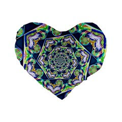 Power Spiral Polygon Blue Green White Standard 16  Premium Heart Shape Cushions by EDDArt