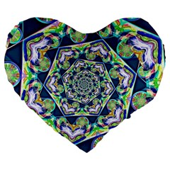 Power Spiral Polygon Blue Green White Large 19  Premium Heart Shape Cushions