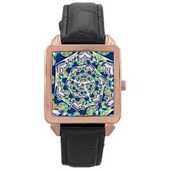 Power Spiral Polygon Blue Green White Rose Gold Leather Watch  by EDDArt