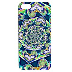 Power Spiral Polygon Blue Green White Apple Iphone 5 Hardshell Case With Stand by EDDArt