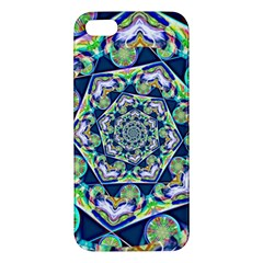 Power Spiral Polygon Blue Green White Apple Iphone 5 Premium Hardshell Case by EDDArt
