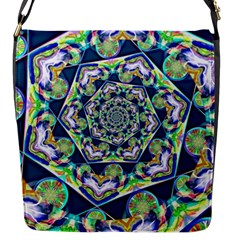 Power Spiral Polygon Blue Green White Flap Messenger Bag (s) by EDDArt