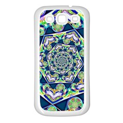 Power Spiral Polygon Blue Green White Samsung Galaxy S3 Back Case (white) by EDDArt