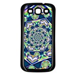 Power Spiral Polygon Blue Green White Samsung Galaxy S3 Back Case (Black) Front