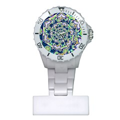 Power Spiral Polygon Blue Green White Plastic Nurses Watch by EDDArt