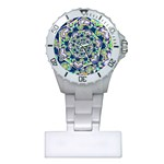 Power Spiral Polygon Blue Green White Plastic Nurses Watch Front