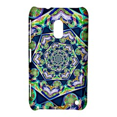 Power Spiral Polygon Blue Green White Nokia Lumia 620 by EDDArt