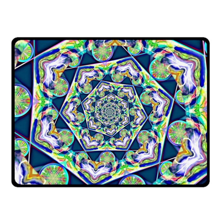 Power Spiral Polygon Blue Green White Double Sided Fleece Blanket (Small)