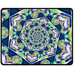 Power Spiral Polygon Blue Green White Double Sided Fleece Blanket (medium)