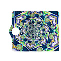 Power Spiral Polygon Blue Green White Kindle Fire Hdx 8 9  Flip 360 Case by EDDArt