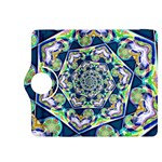 Power Spiral Polygon Blue Green White Kindle Fire HDX 8.9  Flip 360 Case Front