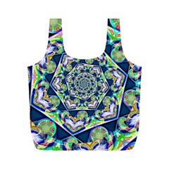 Power Spiral Polygon Blue Green White Full Print Recycle Bags (m)  by EDDArt