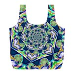 Power Spiral Polygon Blue Green White Full Print Recycle Bags (L)  Front