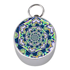 Power Spiral Polygon Blue Green White Mini Silver Compasses by EDDArt