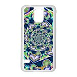 Power Spiral Polygon Blue Green White Samsung Galaxy S5 Case (White) Front