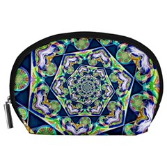 Power Spiral Polygon Blue Green White Accessory Pouches (large)  by EDDArt